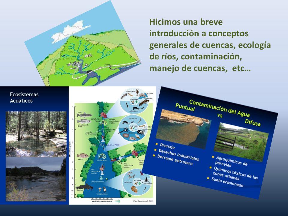 Hicimos una breve introducción a conceptos generales de cuencas, ecología de ríos, contaminación, manejo de cuencas, etc…