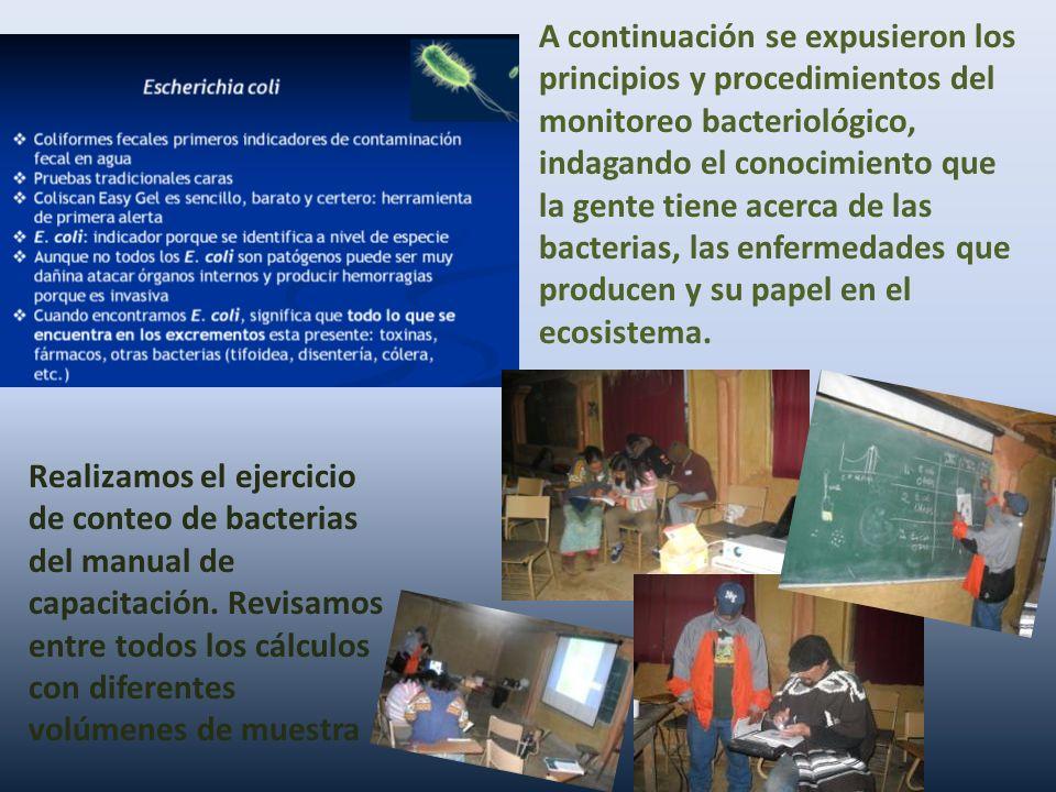 A continuación se expusieron los principios y procedimientos del monitoreo bacteriológico, indagando el conocimiento que la gente tiene acerca de las bacterias, las enfermedades que producen y su papel en el ecosistema.