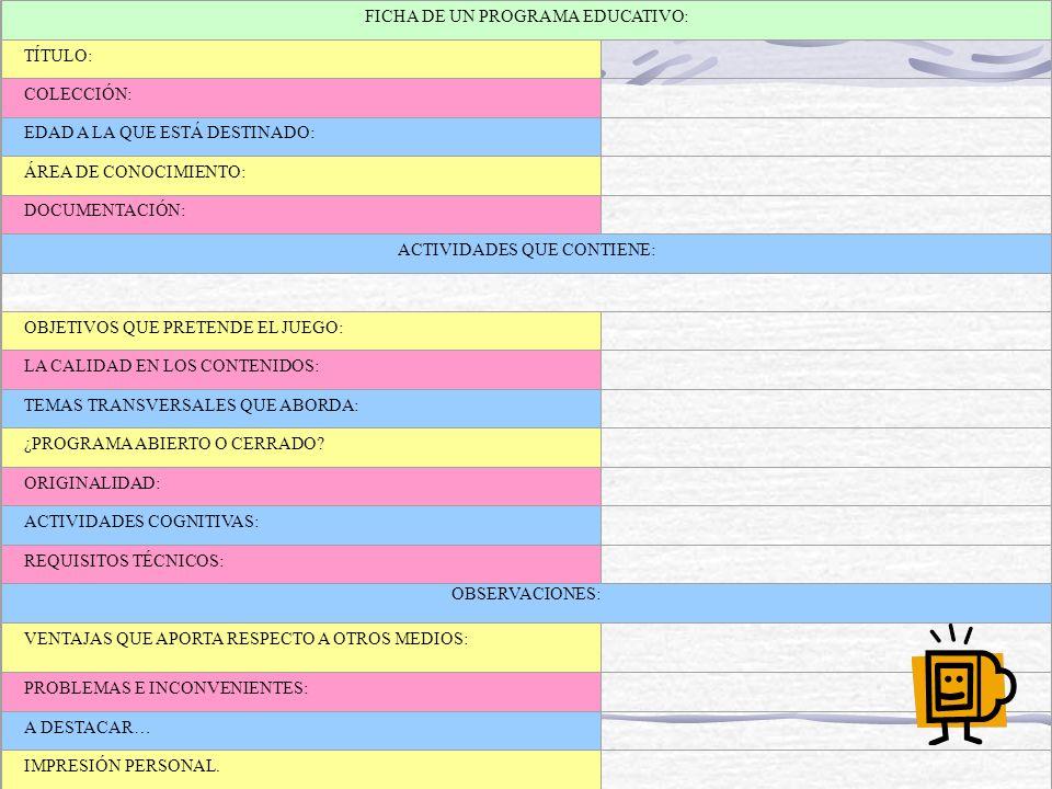 FICHA DE UN PROGRAMA EDUCATIVO: