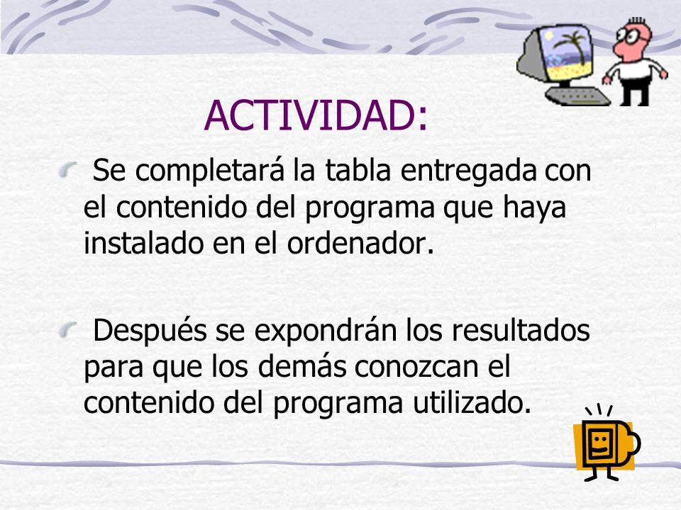 ACTIVIDAD: Se completará la tabla entregada con el contenido del programa que haya instalado en el ordenador.