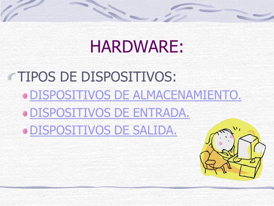 HARDWARE: TIPOS DE DISPOSITIVOS: DISPOSITIVOS DE ALMACENAMIENTO.
