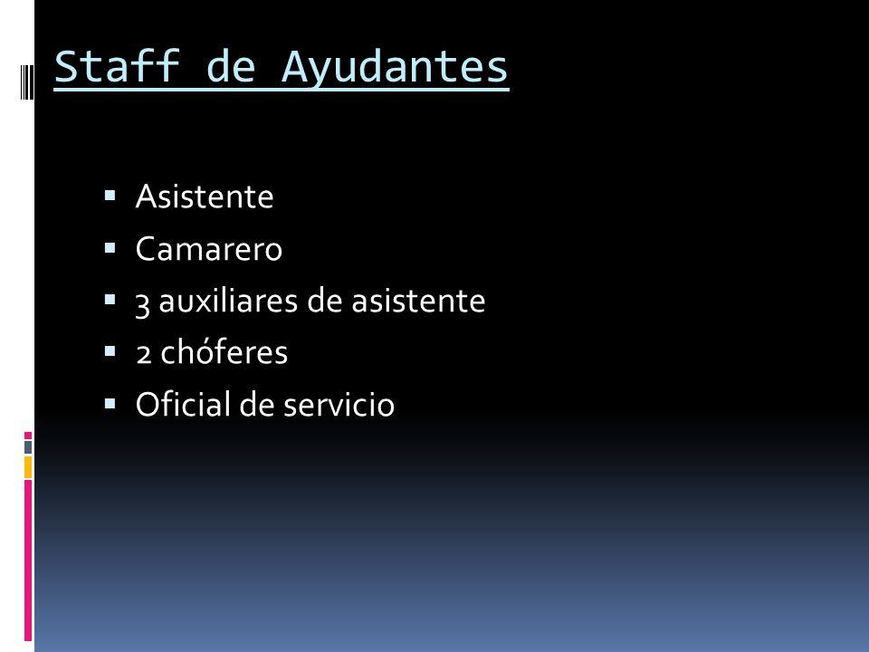 Staff de Ayudantes Asistente Camarero 3 auxiliares de asistente