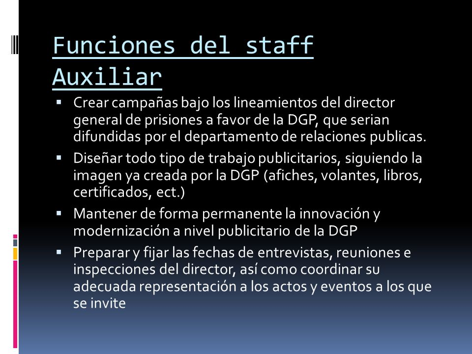 Funciones del staff Auxiliar