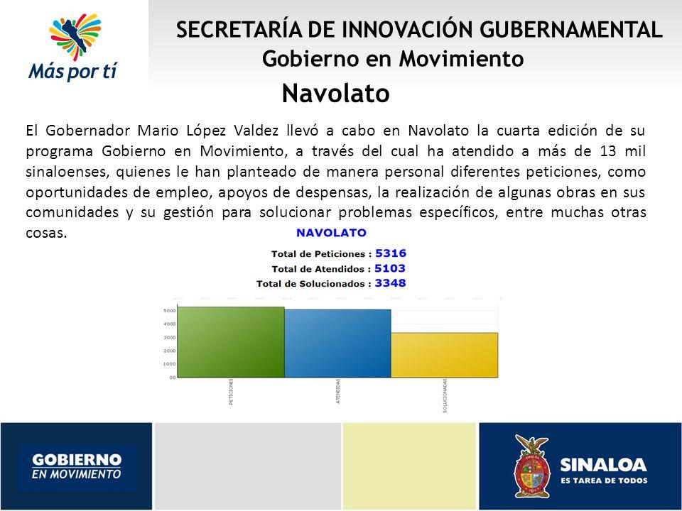 Navolato SECRETARÍA DE INNOVACIÓN GUBERNAMENTAL Gobierno en Movimiento