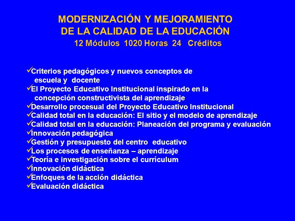 MODERNIZACIÓN Y MEJORAMIENTO DE LA CALIDAD DE LA EDUCACIÓN