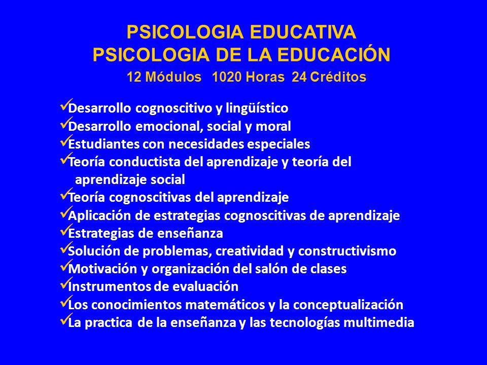 PSICOLOGIA DE LA EDUCACIÓN 12 Módulos 1020 Horas 24 Créditos