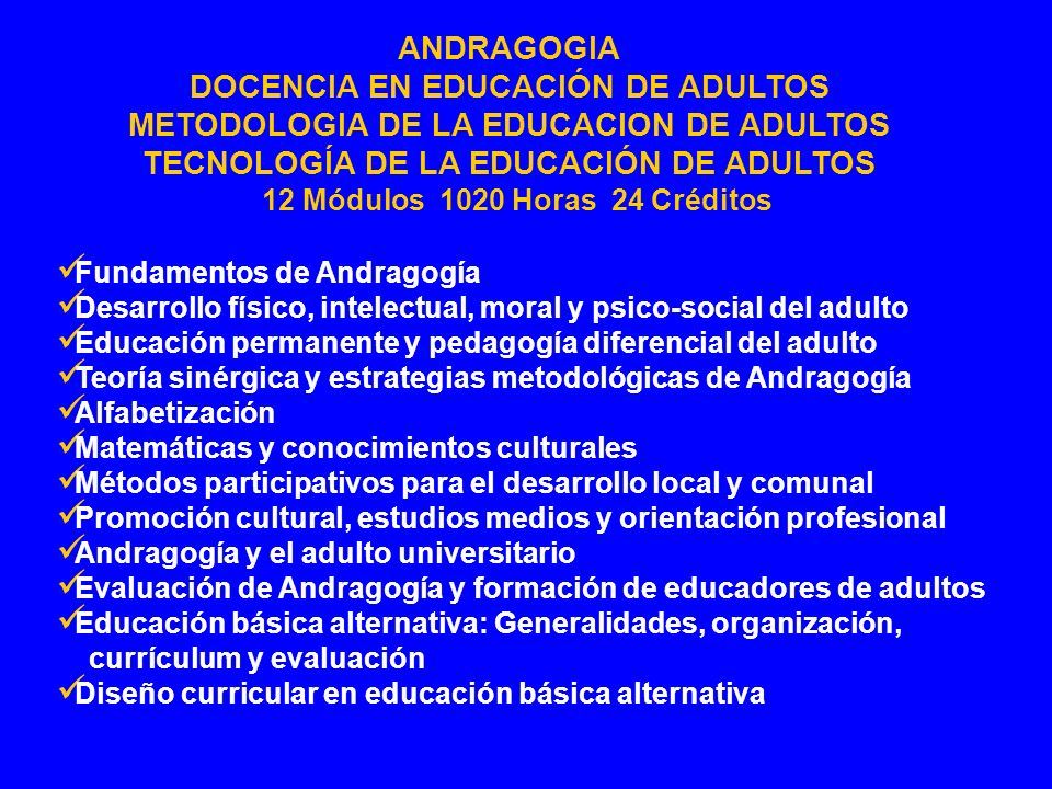 TECNOLOGÍA DE LA EDUCACIÓN DE ADULTOS