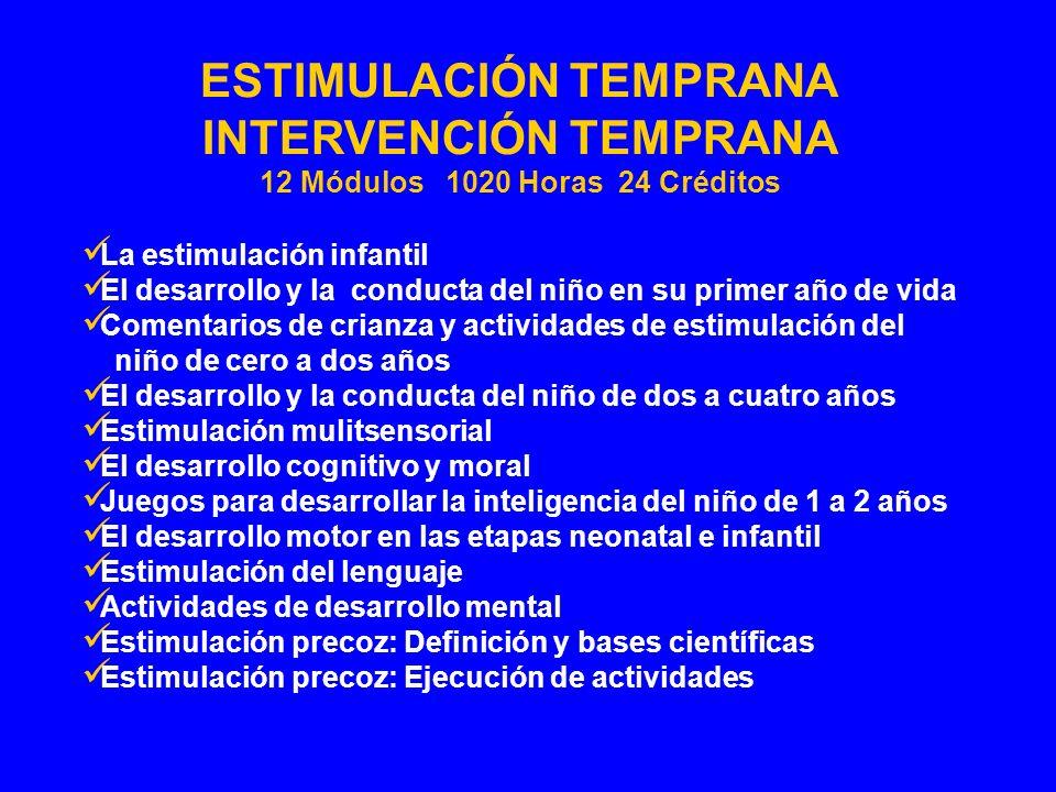 INTERVENCIÓN TEMPRANA 12 Módulos 1020 Horas 24 Créditos