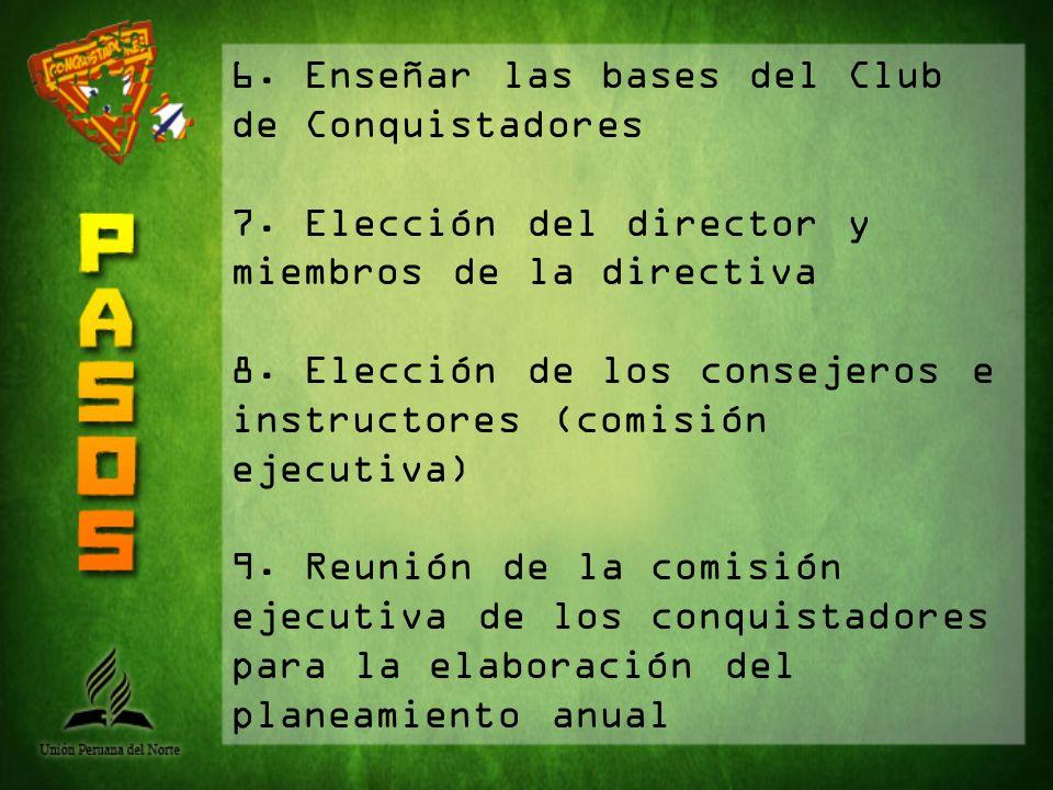 6. Enseñar las bases del Club de Conquistadores