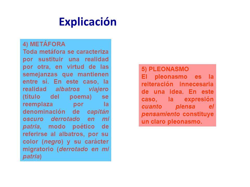Explicación 4) METÁFORA