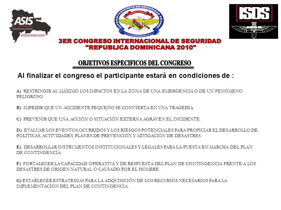 OBJETIVOS ESPECIFICOS DEL CONGRESO
