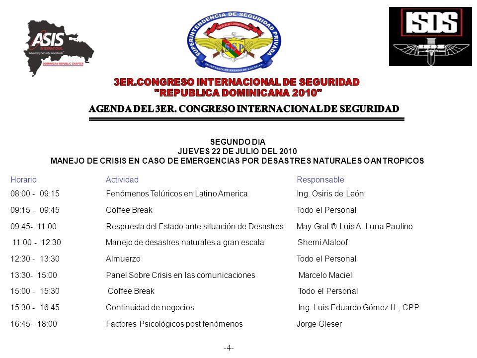AGENDA DEL 3ER. CONGRESO INTERNACIONAL DE SEGURIDAD