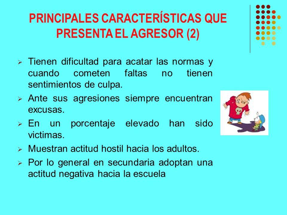 PRINCIPALES CARACTERÍSTICAS QUE PRESENTA EL AGRESOR (2)