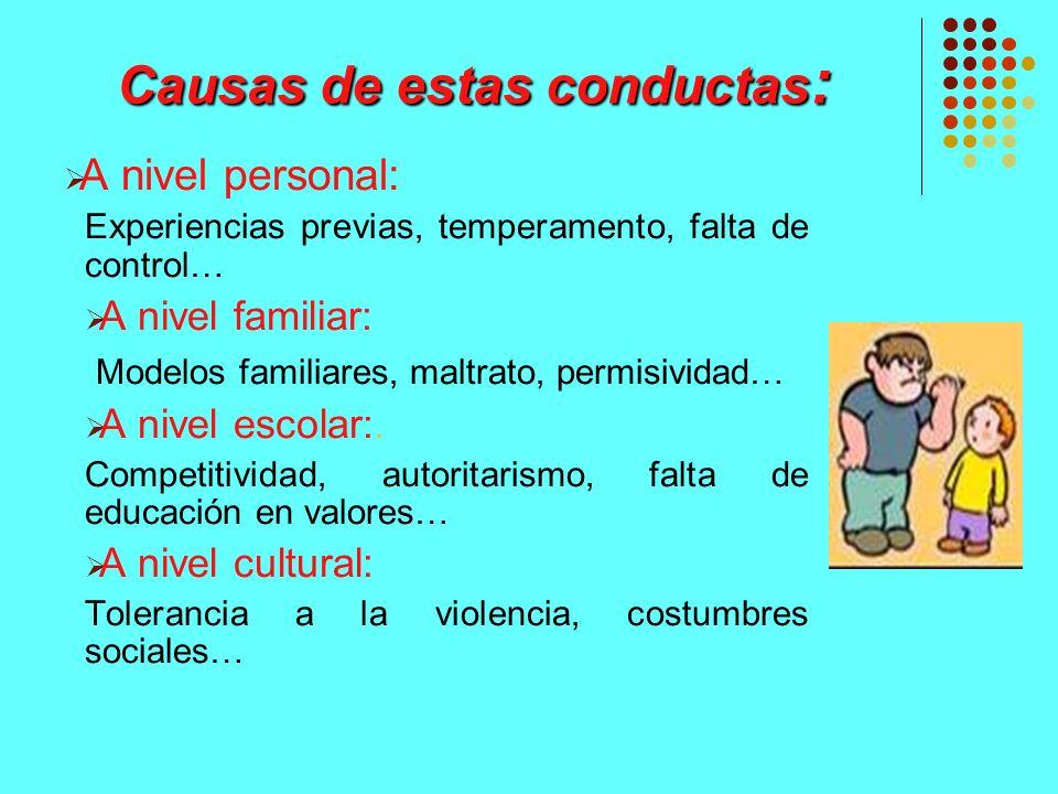Causas de estas conductas: