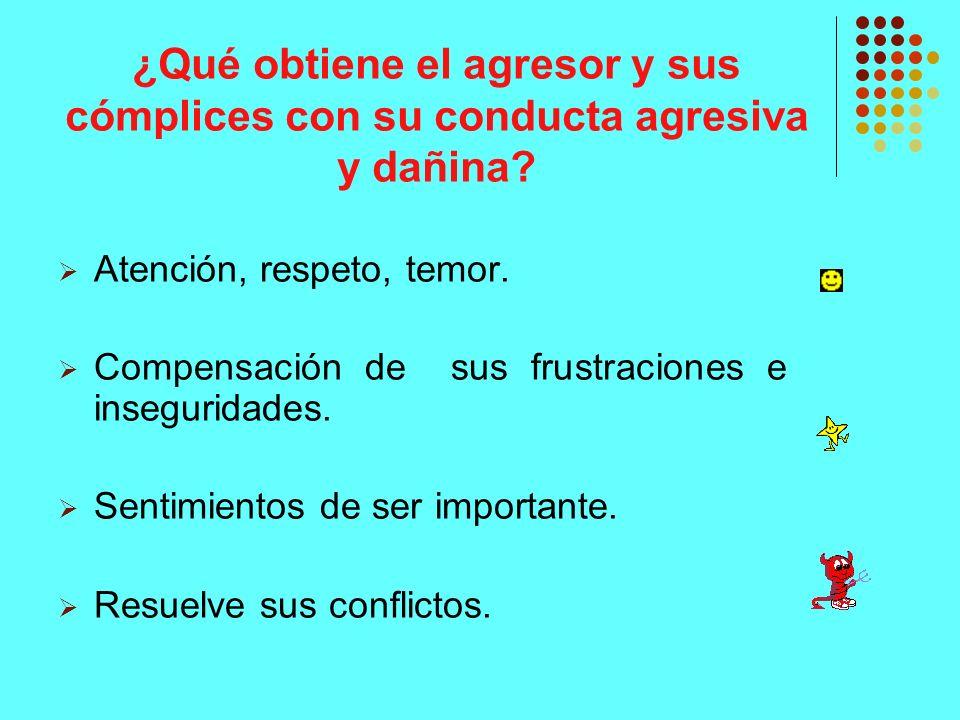 ¿Qué obtiene el agresor y sus cómplices con su conducta agresiva y dañina