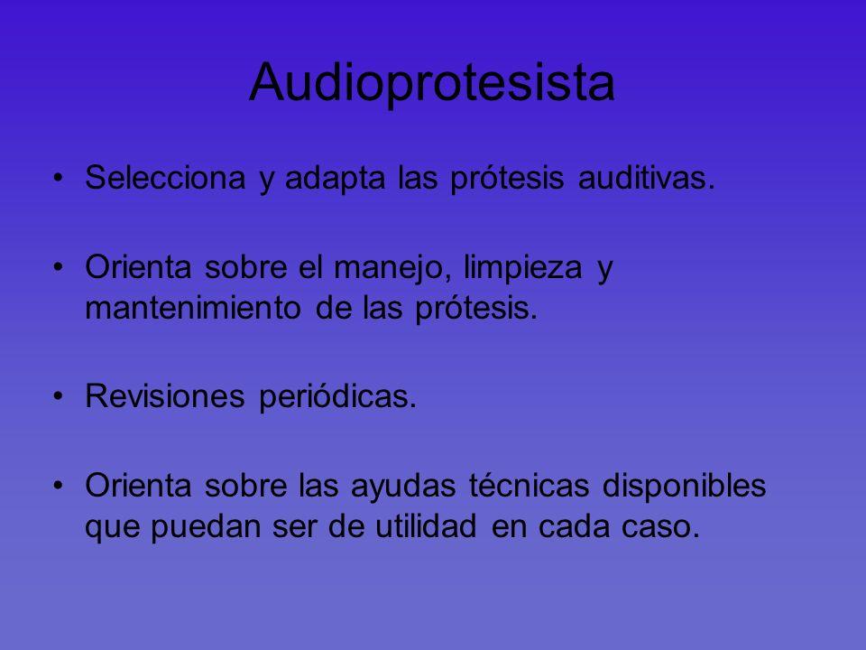 Audioprotesista Selecciona y adapta las prótesis auditivas.