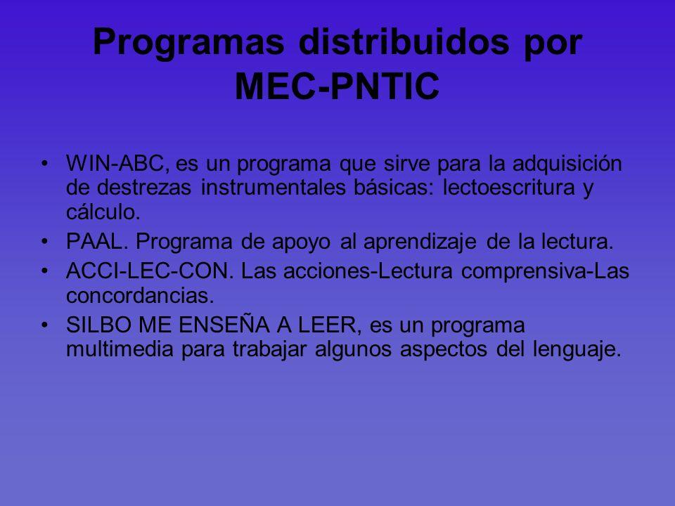 Programas distribuidos por MEC-PNTIC