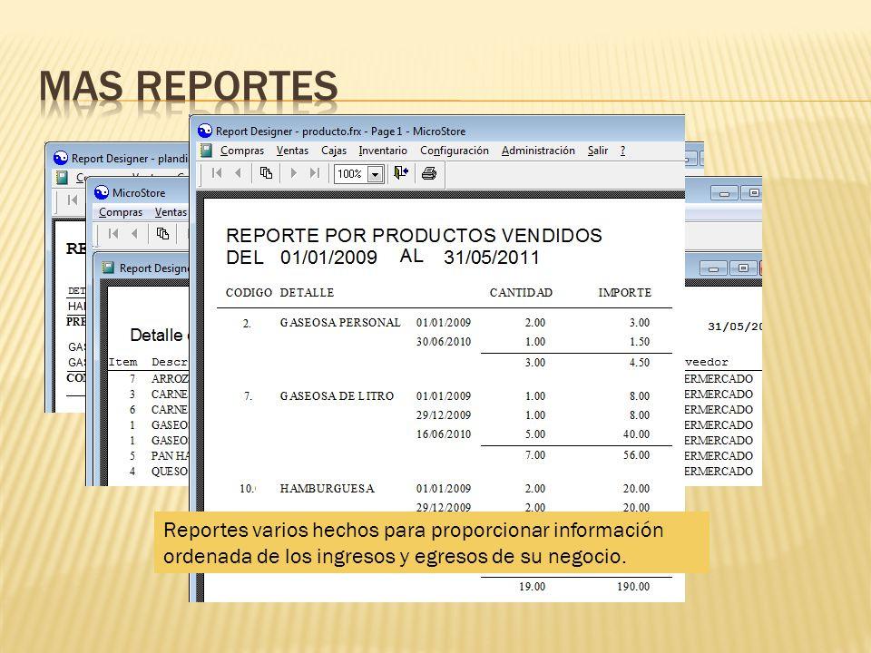 Mas reportes Reportes varios hechos para proporcionar información ordenada de los ingresos y egresos de su negocio.