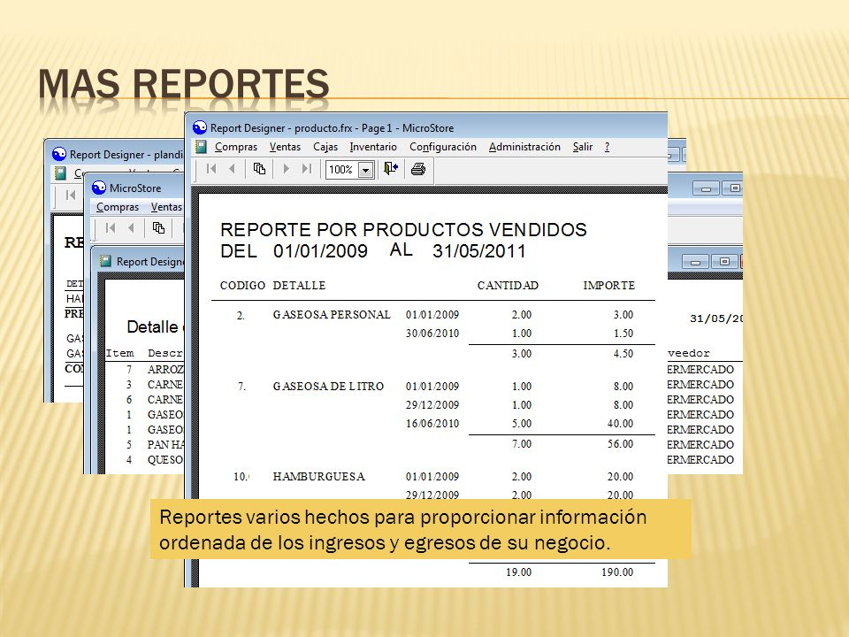 Mas reportesReportes varios hechos para proporcionar información ordenada de los ingresos y egresos de su negocio.
