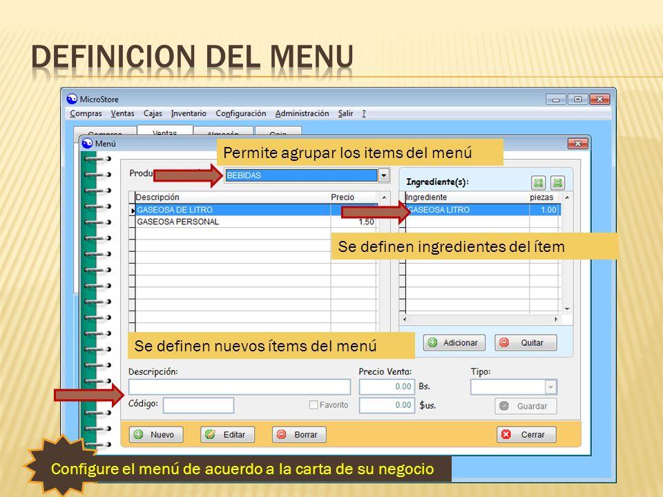 Definicion del menu Permite agrupar los items del menú