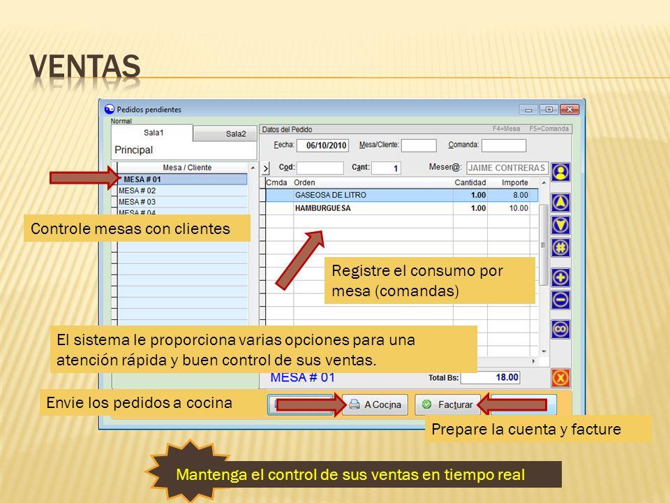 ventas Controle mesas con clientes