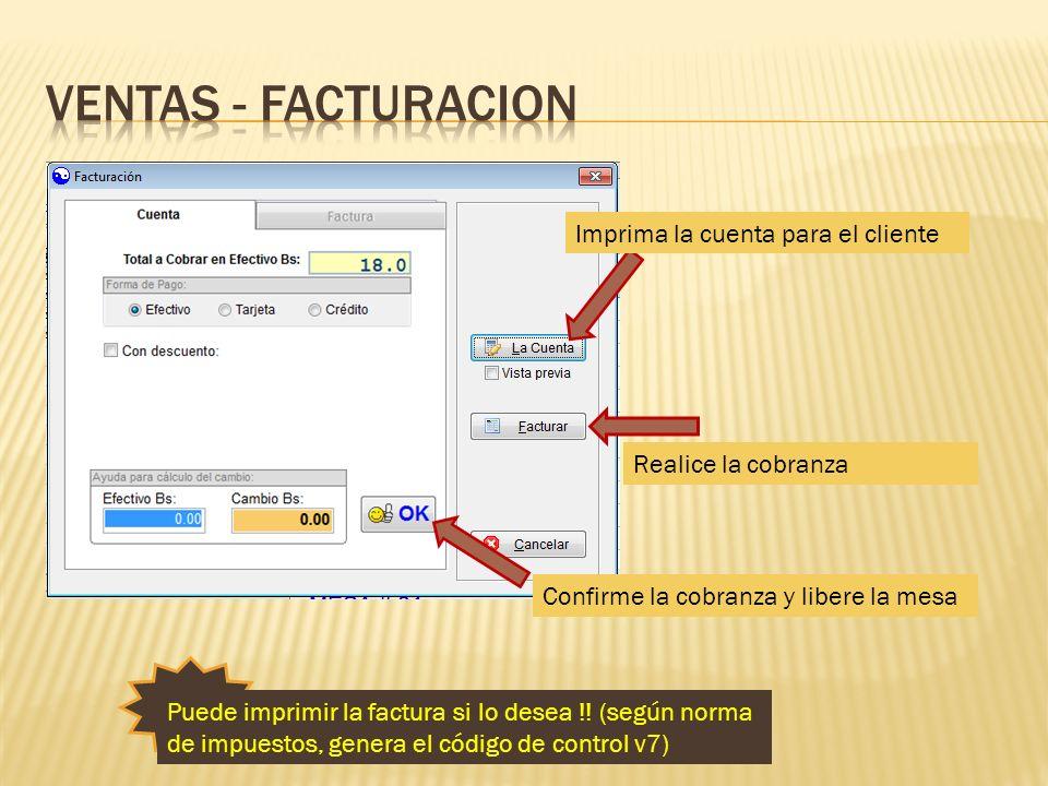 Ventas - facturacion Imprima la cuenta para el cliente