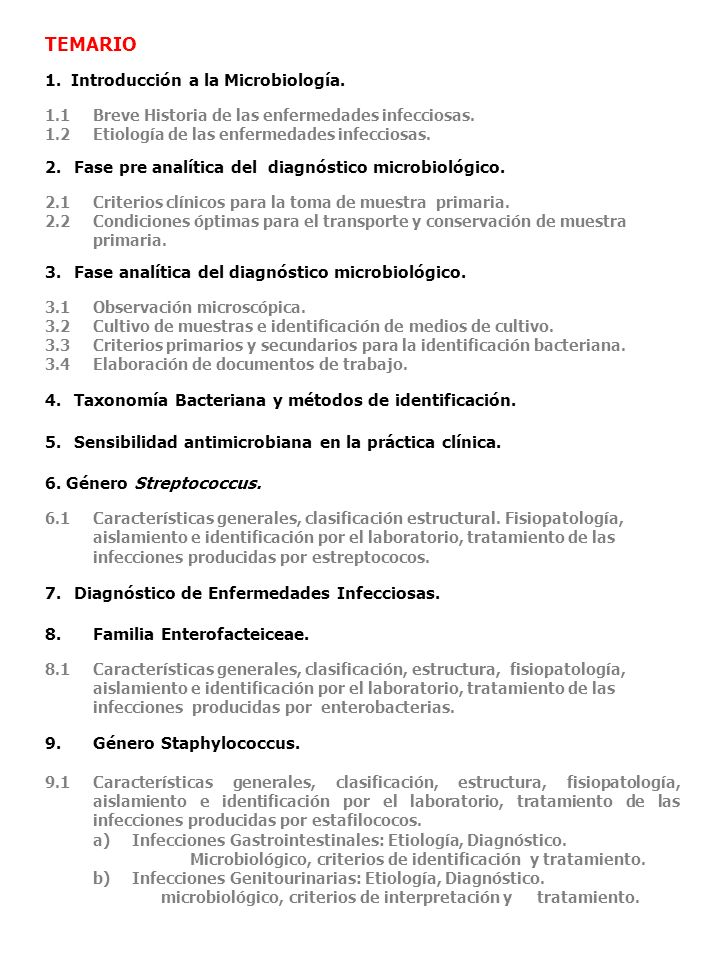 TEMARIO 1. Introducción a la Microbiología.