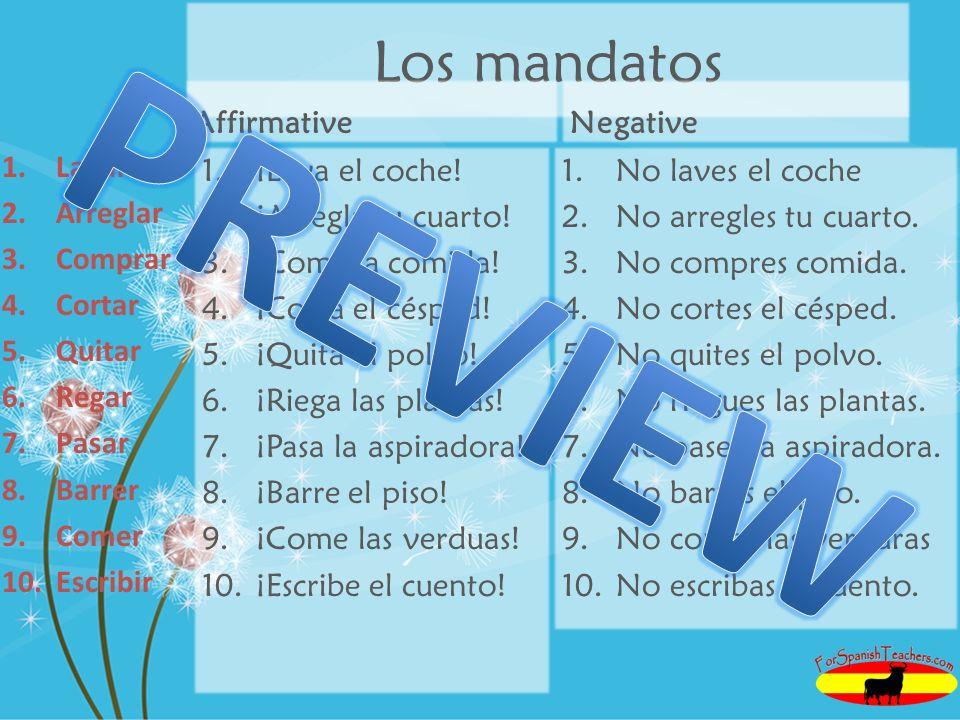 PREVIEW Los mandatos Affirmative Negative Lavar Arreglar Comprar
