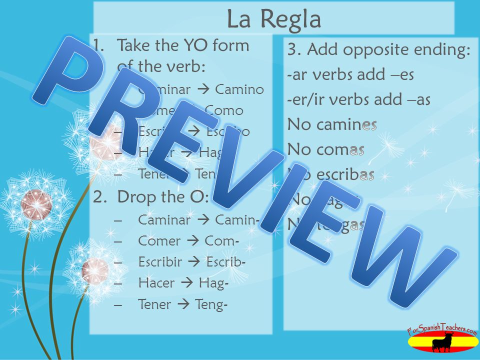 PREVIEW La Regla Take the YO form of the verb: