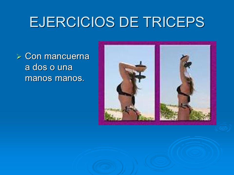 EJERCICIOS DE TRICEPS Con mancuerna a dos o una manos manos.