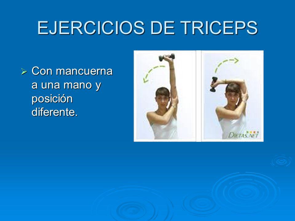 EJERCICIOS DE TRICEPS Con mancuerna a una mano y posición diferente.