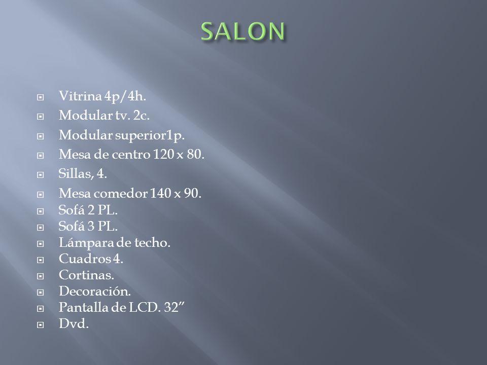 SALON Vitrina 4p/4h. Modular tv. 2c. Modular superior1p.