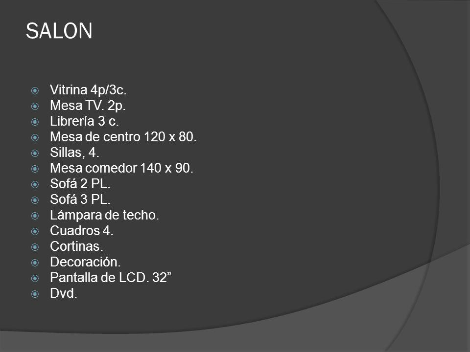 SALON Vitrina 4p/3c. Mesa TV. 2p. Librería 3 c.
