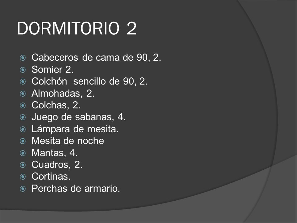 DORMITORIO 2 Cabeceros de cama de 90, 2. Somier 2.