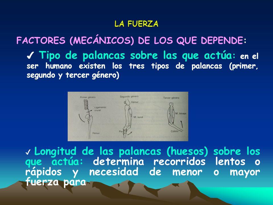 FACTORES (MECÁNICOS) DE LOS QUE DEPENDE: