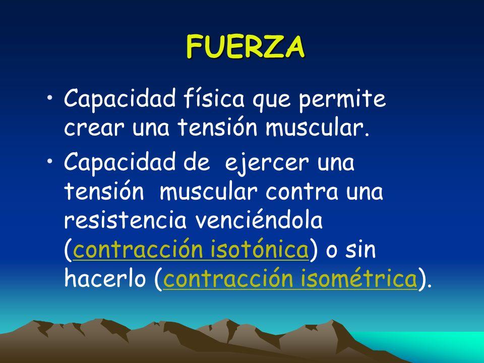 FUERZA Capacidad física que permite crear una tensión muscular.