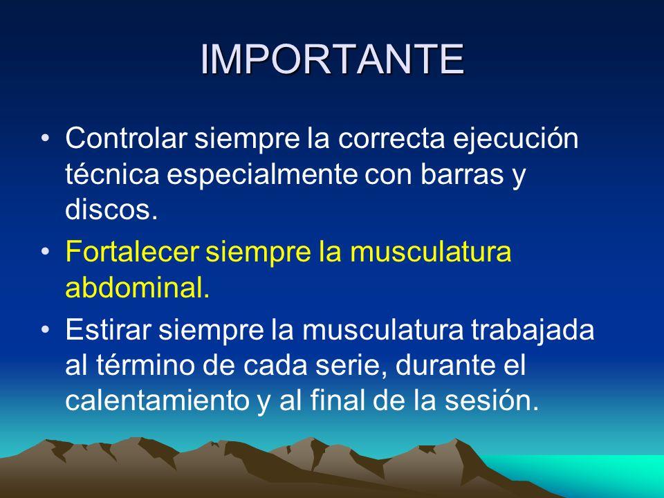 IMPORTANTE Controlar siempre la correcta ejecución técnica especialmente con barras y discos. Fortalecer siempre la musculatura abdominal.