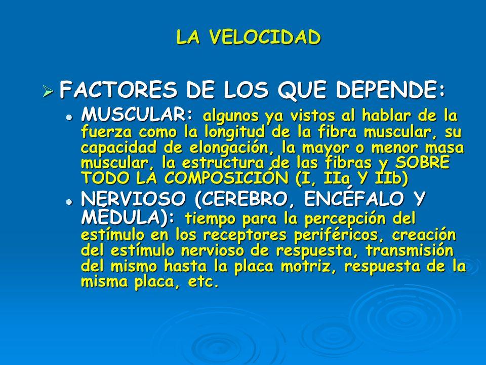 FACTORES DE LOS QUE DEPENDE: