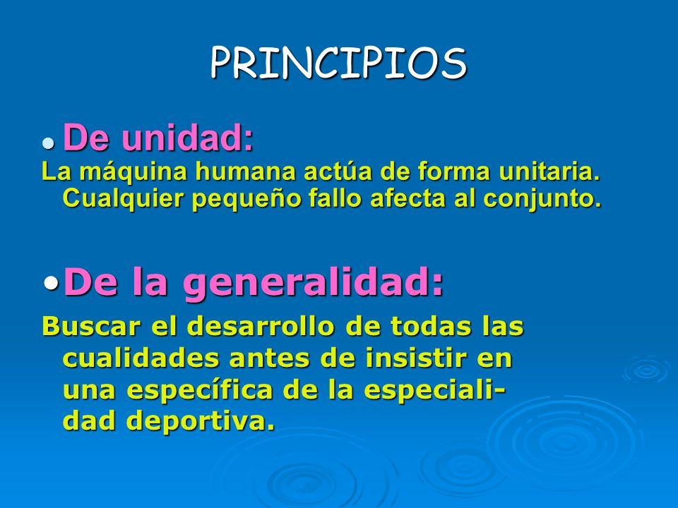 PRINCIPIOS De unidad: De la generalidad: