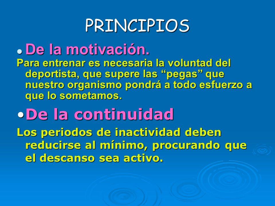 PRINCIPIOS De la motivación. De la continuidad