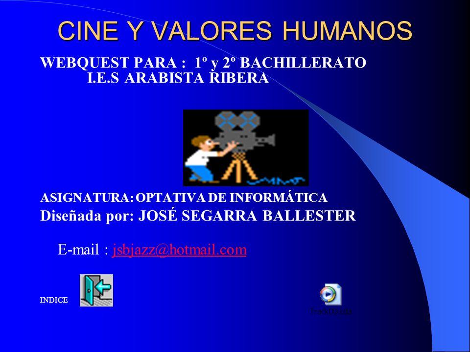 CINE Y VALORES HUMANOS WEBQUEST PARA : 1º y 2º BACHILLERATO I.E.S ARABISTA RIBERA. ASIGNATURA: OPTATIVA DE INFORMÁTICA.