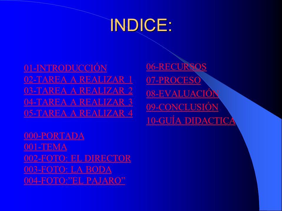 INDICE: 06-RECURSOS 01-INTRODUCCIÓN 07-PROCESO 02-TAREA A REALIZAR 1