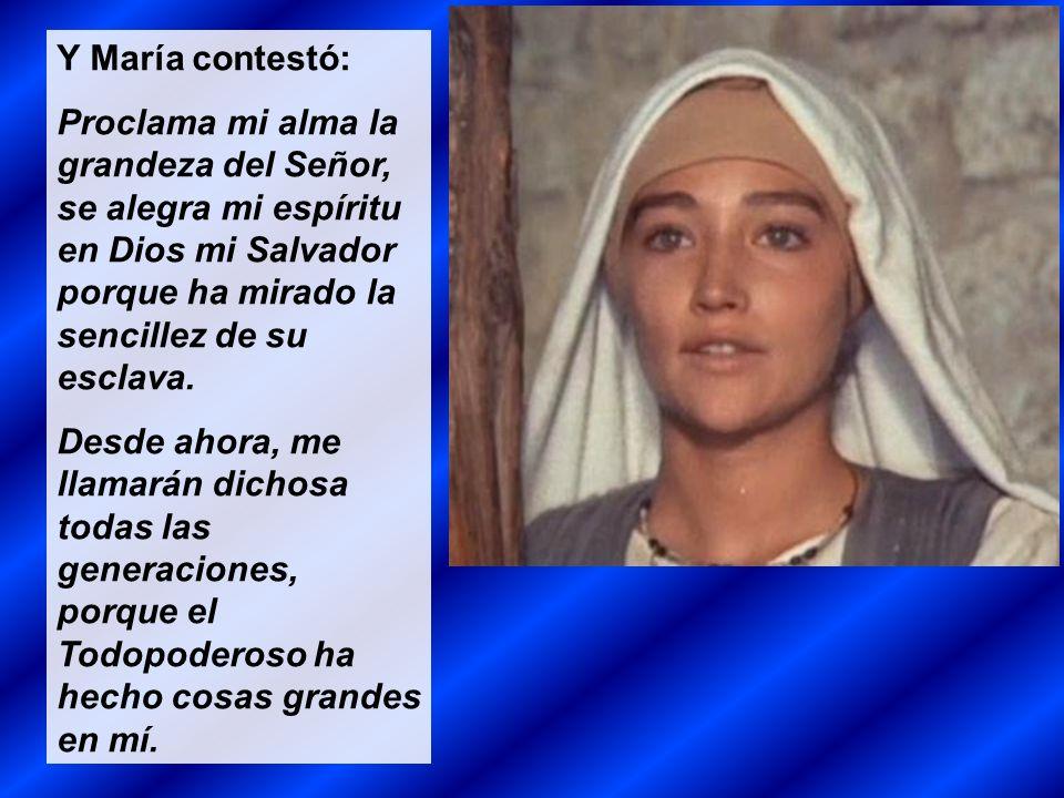 Y María contestó: Proclama mi alma la grandeza del Señor, se alegra mi espíritu en Dios mi Salvador porque ha mirado la sencillez de su esclava.