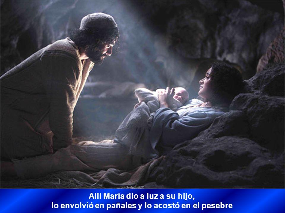 Allí María dio a luz a su hijo,