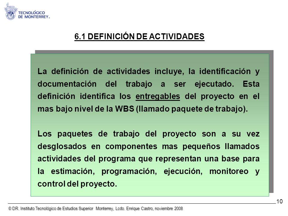 6.1 DEFINICIÓN DE ACTIVIDADES