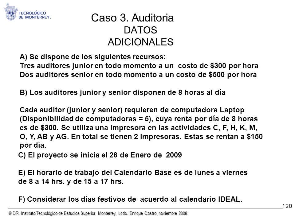 Caso 3. Auditoria DATOS ADICIONALES