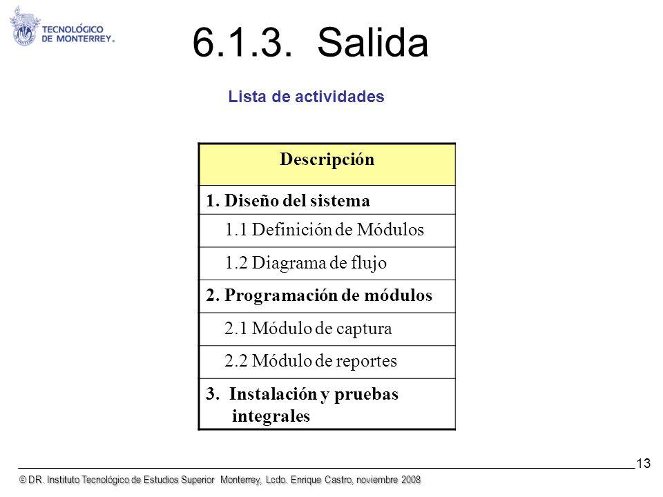 6.1.3. Salida Descripción 1. Diseño del sistema