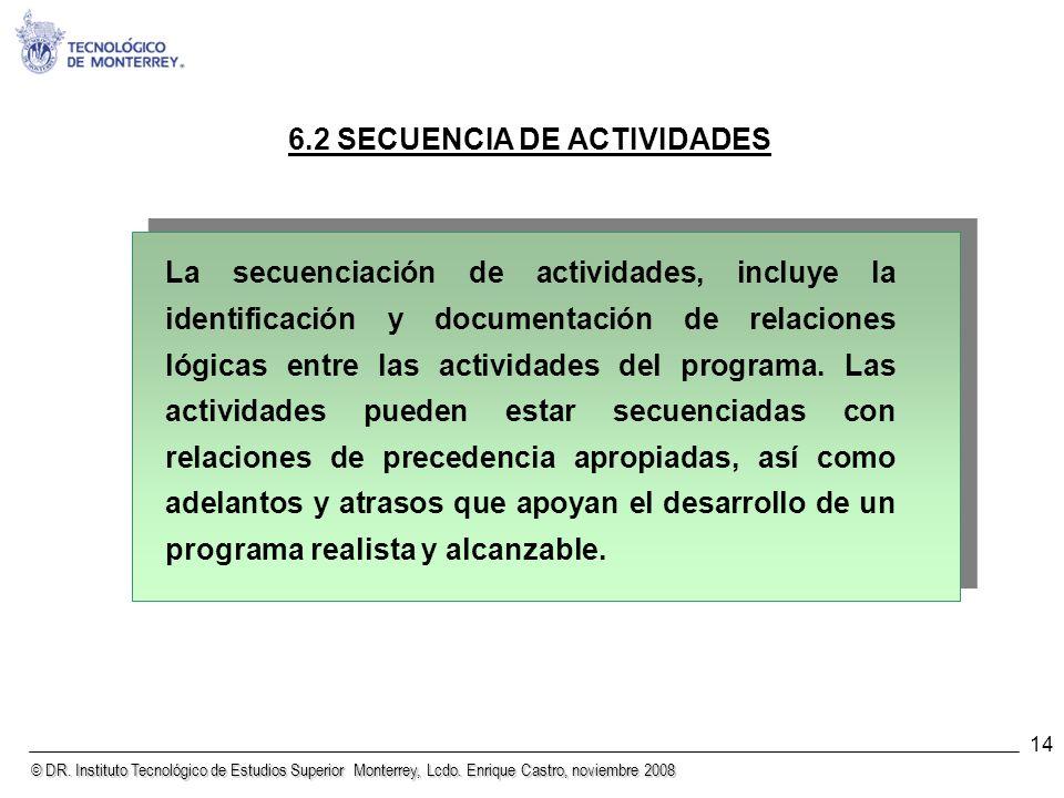 6.2 SECUENCIA DE ACTIVIDADES