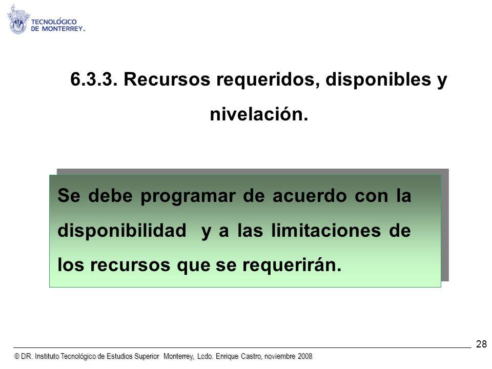 6.3.3. Recursos requeridos, disponibles y nivelación.