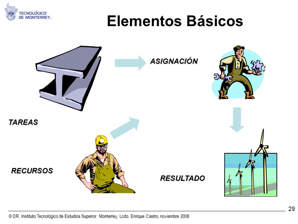 Elementos Básicos ASIGNACIÓN TAREAS RECURSOS RESULTADO 29 29
